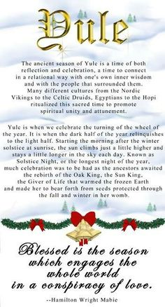 """Yule and Christmas have overlapping traditions because of their roots in history. Christians are inclined to send, """"Merry Christmas"""" greetings, whereas Pagans will send """"Bright Blessings"""" at Yule. Winter Holidays, Winter Christmas, Christmas Holidays, Pagan Christmas, Xmas, Merry Christmas, Happy Holidays, Christmas Sayings, Christmas Labels"""