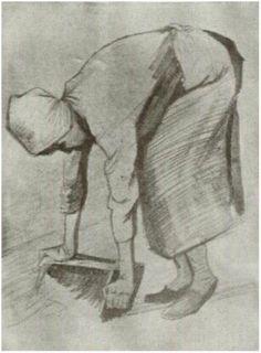 Vincent van Gogh Mujer agachada Drawing