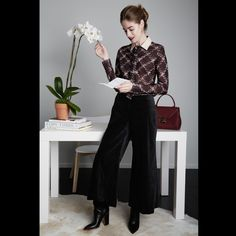- Balance the funkiness of a cropped, wide-leg pant with aprinted pussybow blouse.Pictured: Top by Tommy Hilfiger