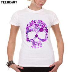 TEEHEART New Women Fashion Brand Romance Flower Design T shirt Novelty Purple Rose Skull Tops Printed Short Sleeve Tees a113