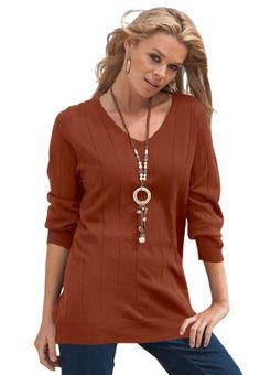 Roamans Plus Size Fine Gauge V-Neck Sweater $19.99