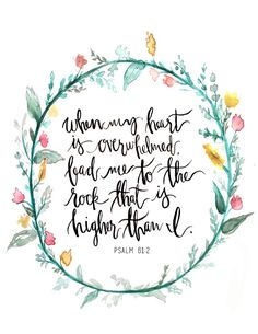 Psalm 61:2 Hand Lettered Art Print by AprylMade on Etsy