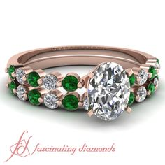 Oval Shaped and Round Diamond and Emerald Petite Wedding Ring Set in Pave Setting