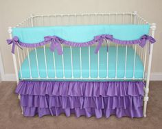 Bumperless Aqua and Purple  Baby Girl Crib Bedding with Crib Rail Guard / Rail Cover on Etsy, $285.00