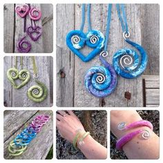 Wool felted on wire. Felted jewelry.