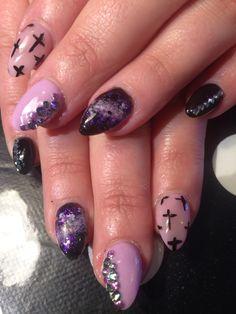 Lilac Galaxy nails