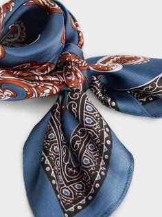 Pañuelo Estampado Paisley, Azul Paisley, Color Azul, Alexander Mcqueen Scarf, Tie, Illustration, Accessories, Fashion, Blue Nails, Moda