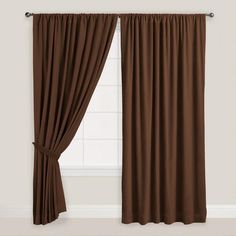 One of my favorite discoveries at WorldMarket.com: Chocolate Brown Velvet Dual Tab Top Curtain