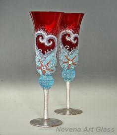Champagne Glasses, Wedding Glasses, Hand Painted, Set of 2 by NevenaArtGlass on Etsy https://www.etsy.com/listing/464807028/champagne-glasses-wedding-glasses-hand