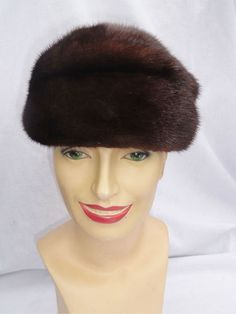 Retro Dark Mink Hat Classy Pillbox Beret Skull Cap Hudsons Woodward Shops