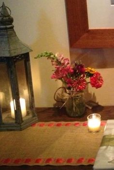Burlap Premium Ribbon Table Runner 12 wide by CustomHollyDavidson. I think i could do this myself with royal blue ribbon!