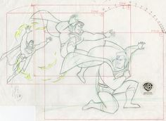 """This is an original Layout Drawing from the Warner Bros. Studios production of the Superman the Animated Series episode, Father's Day. This Layout Drawing features Superman in a progression of three poses and was created at the studio and used during the production of the film. The overall measurements of the piece are 13"""" x 16"""" and the image itself measures 9.5"""" x 12.5""""."""