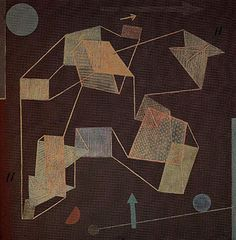 'Uplift and Direction (Glider Flight)', Paul Klee (1932): Twisting draughtsmen's system to suggest four-dimensional objects / states.