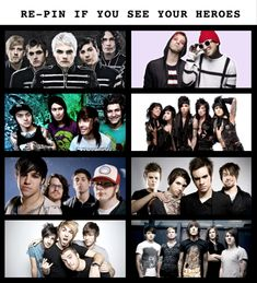 Re-pin if you see your heroes. Mcr, tøp, ptv, bvb, fob, p!ad, atl, bmth #random #repin #bands #emobands #music