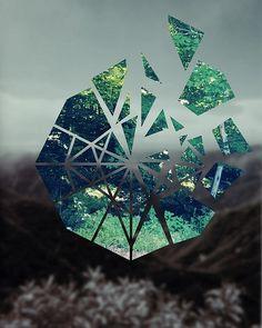 Mika Bar. Chaim. Nature. Black & Green. Parts. Fractions. Broken. Circle. Glass. Shattered. Illustration. Collage. Media. Modern.