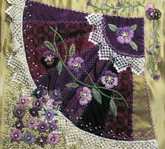 I ❤ crazy quilting & embroidery . . . I am absolutely not a quilt maker, and at 82, my embroidery skills are deteriorating, but my daughter loved her wall hanging.~By Katie Redd, ~Posted in CQMagOnline