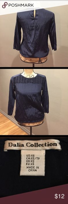 Dahlia Collection 3/4 Sleeve Blouse Navy Blue soft silky fabric. Shows wear and some pilling. dahlia collection Tops Blouses