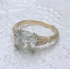 Replica Art Deco Engagement Ring with Vintage Cushion cut - 3382-01