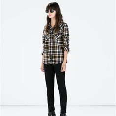 ZARA Flannel Plaid Top Brand new. Never worn. Khaki. Love but I got the wrong size. Bought online. Zara Tops