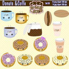 Café y donas imagenes prediseñadas, café, rosquillas, donas, cafetera, postre, gráfico lindo, latte, café donas kawaii de CuteDesignPapers en Etsy