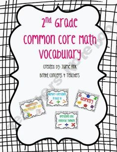 A complete set of over 150 color coded Common Core Math vocabulary cards for 2nd grade!