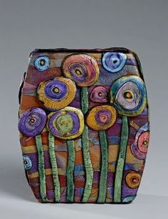 a Mused Studio: Polymer Clay Vases Use this idea for 40s flowers...craftsman designs
