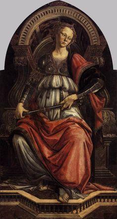 """Sandro Botticelli (1445-1510) - """"La Force"""" (vers 1470) - Tempera sur bois, 167 x 87 cm - Galerie des Offices, Florence, Italie - Les représentations allégoriques des Vertus cardinales sont dédiées aux valeurs humaines. La Force, interprétée comme détermination & courage, assise sur un ample trône taillé dans le marbre, porte une armure et tient le sceptre du commandement à la main. Son coude gauche repose sur la colonne, un autre de ses attributs."""