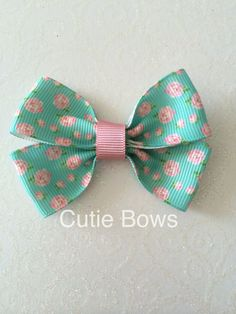Rose Ribbon Bow Hair Clip by CutieBowsAccessories on Etsy, £1.25