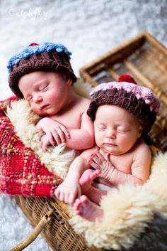 boy girl twins in basket
