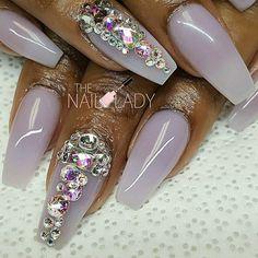 Pale Lavender Bling Nails @blackgirlsdonails