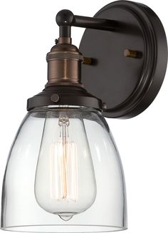 Buy the Nuvo Lighting Rustic Bronze Direct. Shop for the Nuvo Lighting Rustic Bronze Vintage Single Light Tall Wall Sconce with Clear Glass Shade and save. Bathroom Sconces, Bathroom Light Fixtures, Wall Fixtures, Bathroom Vanity Lighting, Bronze Bathroom, Houzz Bathroom, Rustic Bathroom Lighting, Vanity Mirrors, Colors