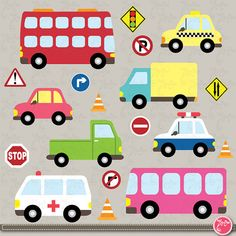 Transportation clip art ,Cute  Vehicles, transport set perfect for Scrapbook, Cards, Invitations,Personal and Commercial Use Ts003