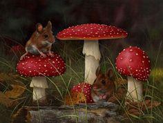 Carl Andrew Whitfield, British Wildlife/Still Life Artist Mushroom Art, Mushroom Fungi, British Wildlife, Wildlife Art, Horticulture, Mini Gifs, Animals And Pets, Cute Animals, Farm Animals