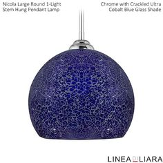 Nicola LARGE Round Stem Hung Pendant Lamp with Crackled Glass Shade-- Cobalt Blue by Linea di Liara ✦ Uses 1 Medium Base (E26) Bulb - 100W Max (Not Included) ✦ http://lineadiliara.com/collections/pendant/products/nicola-large-pendant #Lighting