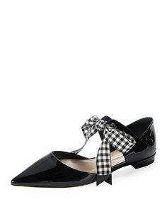 Miu Miu patent-leather ankle-tie d'Orsay flat