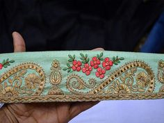 Costume trim, Trimmings, Embroidered Trim, Decorative Trims, Sari Border, Trim By The Yard, Sewing Indian Fabric Trim, Fashion tape trim Mint Green, Coral, Green and Gold Embroidered designer Trims on Mint Green Pure Dupioni Silk Fabric. This beautiful Lace can be used for