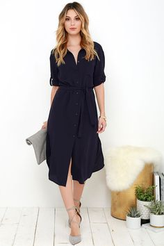 Being office chic comes naturally to those with the Cubicle Cutie Navy Blue Shirt Dress on their resume