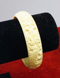 Vintage Carved Bone Bangle Bracelet by 2BourgeoisHippies on Etsy