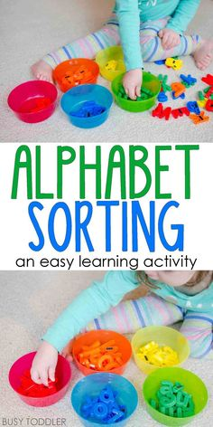 Easy Alphabet Sorting Activity: a quick and easy learning activity for toddlers and preschoolers. I love this idea for easy indoor play!