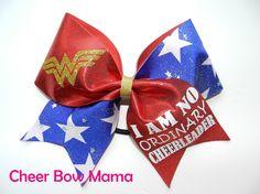 I am NO ORDINARY CHEERLEADER Cheer Bow made with Wonder Woman symbol by Cheer Bow Mama