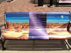 Painted benches downtown Iowa City.