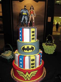 Batman and Wonder Woman wedding cake. Not sure how much my future groom would like his half of the cake decorated in Wonder Woman, but still. ;)