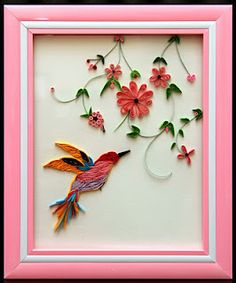 quilling bird with flowers