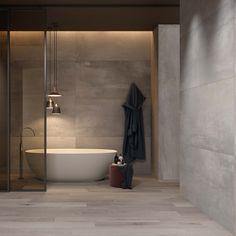 Un gros coup de coeur pour cette belle salle de bain #carrelage #baignoire #moderne