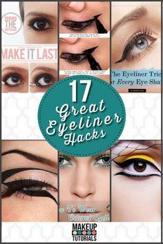 Eyeliner tips and tricks,best eyeliner makeup tutorial for every women. | Beauty Tutorials, DIY Tips and Tricks http://makeuptutorials.com/makeup-tutorials-17-great-eyeliner-hacks/