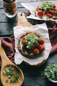 Mini Strawberry Chocolate Tart with Whipped Goat Cheese & Basil Micro Greens | Vegetarian Ventures