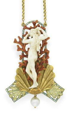"""AN ART NOUVEAU IVORY, ENAMEL AND PEARL """"BIRTH OF VENUS"""" PENDANT NECKLACE, BY GEORGES FOUQUET The carved ivory Venus emerging from a sculpted, textured gold circa 1900,"""