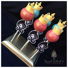 Crown cake pops at an Ever After High birthday party! See more party planning ideas at CatchMyParty.com!