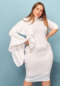 9f29023798 Asoph Plus Size Ruffle Trim Asymmetrical Sleeve Dress