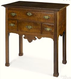 """Pook & Pook 1/13/17 Lot 141.  Estimate: $5,000 - 10,000. Realized: $14,400.    Description: Rare Southern Chippendale walnut server, ca. 1770, probably Virginia, 37'' h., 34'' w. Provenance: Titus Geesey.  Condition: 21"""" d. Original engraved brasses. Yellow pine & cedar secondaries. Slender patch above lock. Finish on legs a little washed out. Foot appliques appear to be original. Overall very good original condition."""